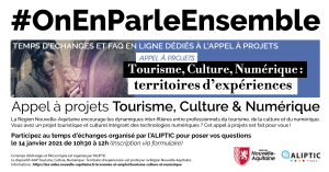 """Temps d'échanges dédié à l'AAP """"Tourisme, Culture & Numérique"""" @ En ligne"""